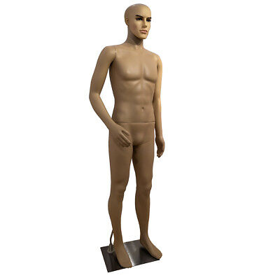 Male Mannequin Plastic Realistic Display Head Turns Dress Form W Base 183cm