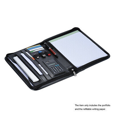 Business Zippered Portfolio Padfolio Folder Document Case Organizer A4 Pu V6j4