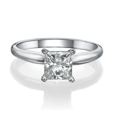 D VVS1 3 Ct Princess Cut Solitaire Engagement Wedding Ring Solid 14k White Gold