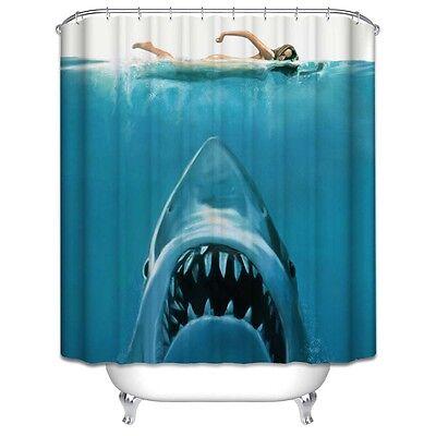 Jaws Shower Curtain Shark Underwater Ocean Nautical Summer Beach Sea Blue 70x70 - Nautical Shower Curtain Hooks