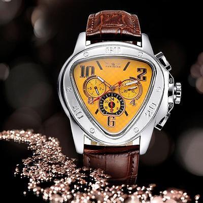 Jaragar Fashion Mens Leather Automatic Mechanical Sport Date Wrist Watch O5w0