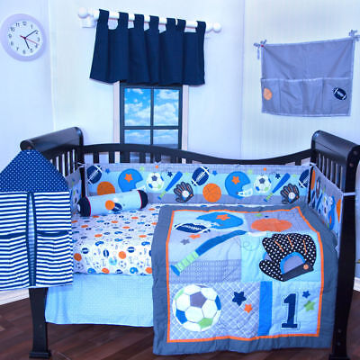 6 pieces Baby Boy crib bedding set Sports Foot ball sports blue Bumper included Baby Boy Sports Bedding