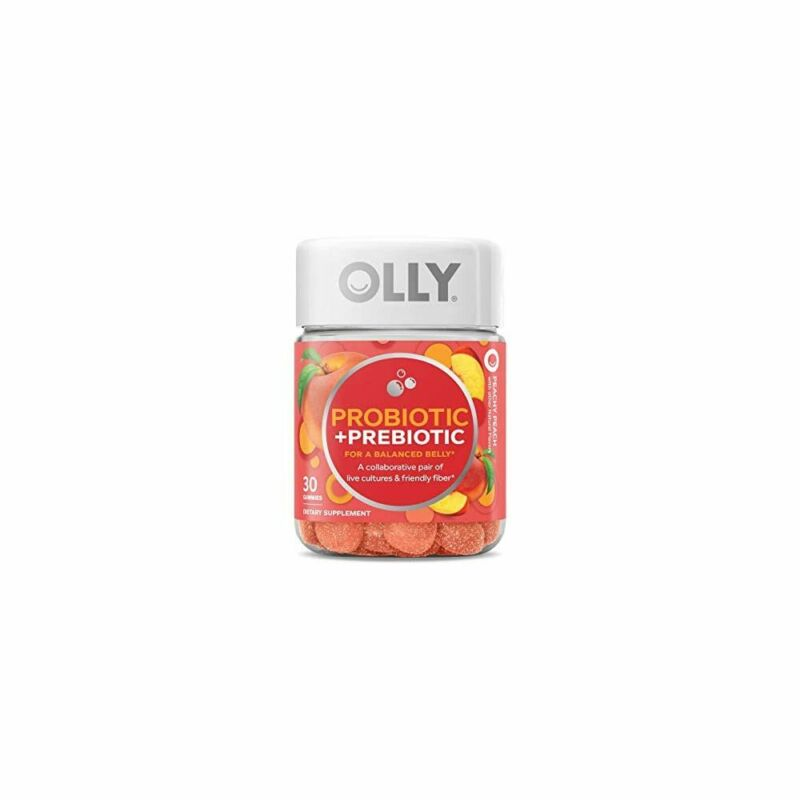 OLLY Probiotic + Prebiotic Gummy, 30 Day Supply , Peachy Pea