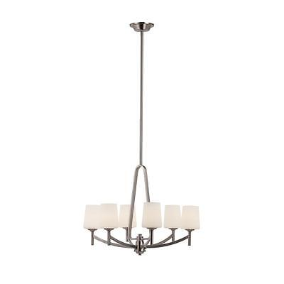 TransGlobe 6-Light Brushed Nickel Height Adjustable Chandelier W/ Frosted Glass