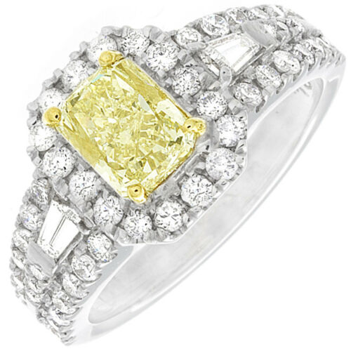 Mind Blowing 2.25 CTW Radiant cut Diamond Round & Baguette Shape 18K WG GIA