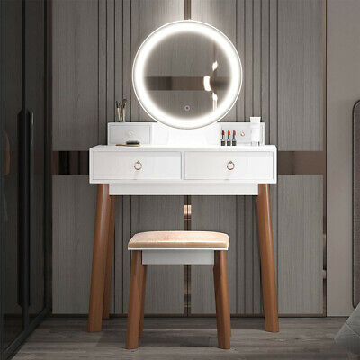 Vanity Dressing Table Makeup Desk with Round Mirror & 2 Drawer Stool for Bedroom