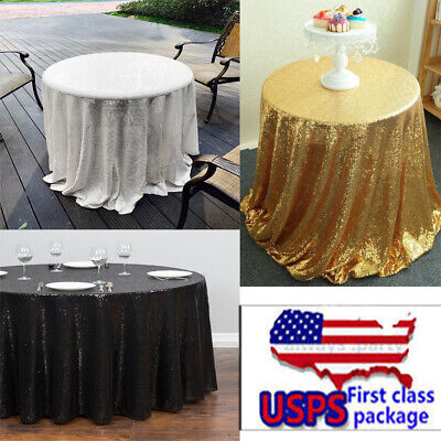 US Round Sparkly Sequin Gold Table Cloth Wedding Banquet Party Xmas Decora NCK - Gold Table Cloths