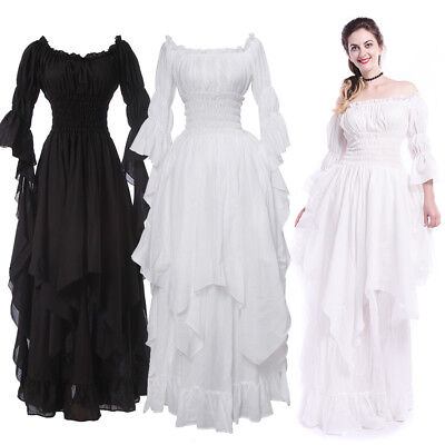 Women Medieval Renaissance White Long Court Dress Night Princess Nightwear Gown](White Medieval Gown)