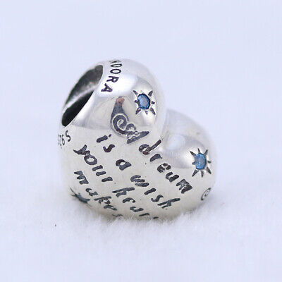 AUTHENTIC PANDORA Disney SILVER CHARM Cinderella Dream Dream is Wish heart Make