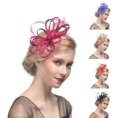 Unique Women Mesh Ribbons Feathers Headband Cocktail Tea Party Hat Headwear USA (Tea Party Ribbons)