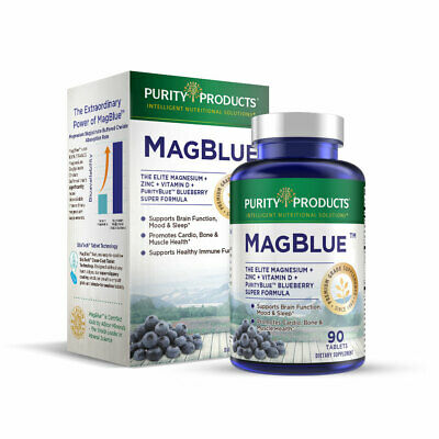 Purity Products MagBlue Magnesium Bisglycinate/TRAACS/Vitamin D/Zinc 90 Tabs