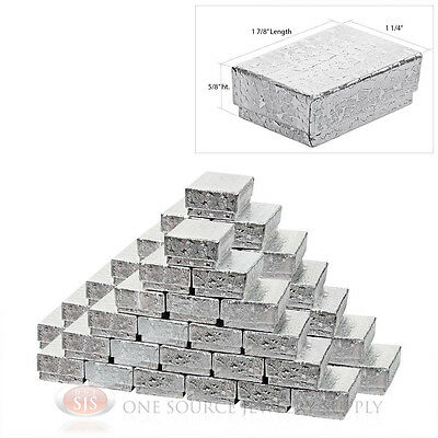 50 Silver Foil Cotton Filled Gift Boxes 1 78 X 1 14 Charm Ring Jewelry Box
