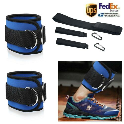 Fitness Exercise Gym Weight Lifting DRing Ankle Straps Cable