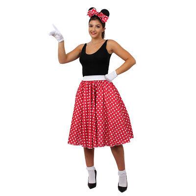 RED POLKA DOT MOUSE CUTE COSTUME SHORT LONG SKIRT WOMENS FANCY - Cute Mouse Kostüm