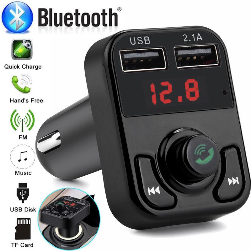Bluetooth Car FM Transmitter Wireless Radio Adapter 2 USB Ch