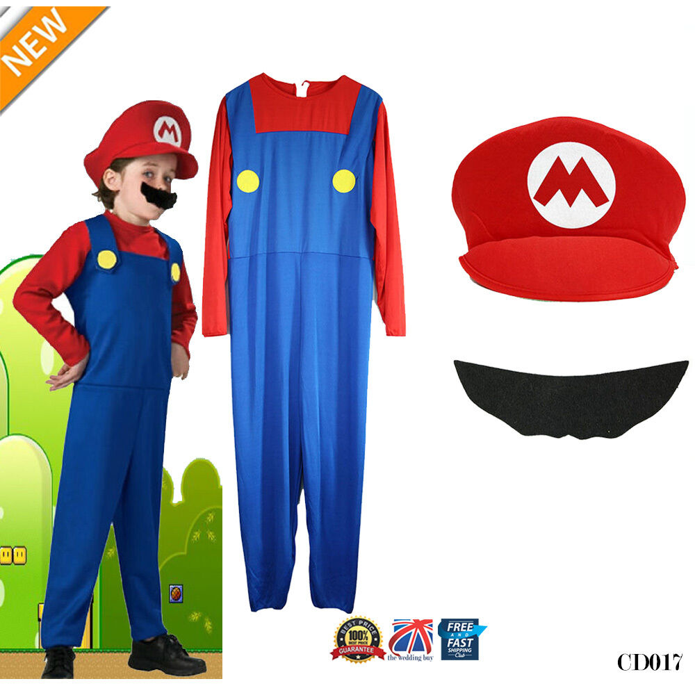kids men adult women super mario & luigi fancy dress set cosplay