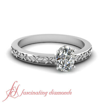 1/2 Carat Oval Shape Diamond Vintage Floral Design Solitaire Engagement Ring GIA