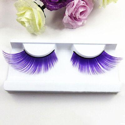 Handmade Fashion Purple Thick Eye Lashes Colorful Plus Long False Eyelashes](Purple Eyelashes)