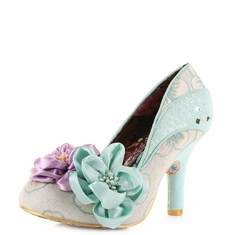 Womens Irregular Choice Peach Melba Mint Floral Green Heels Shoes Size
