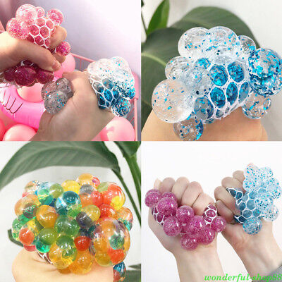 Squishy Mesh Grape Ball Anti Stress Reliever Squeeze ADHD Pressure Toys Gift - Mesh Squishy Ball