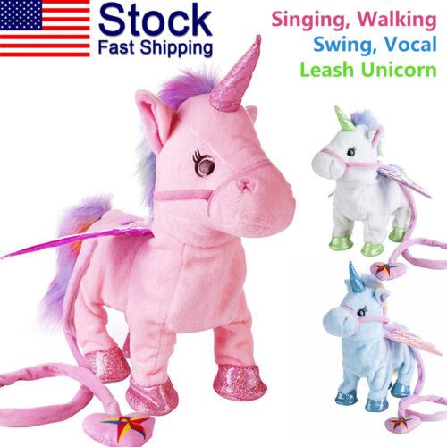 Magic Walking & Singing Unicorn Plush Toy Doll Children Kids