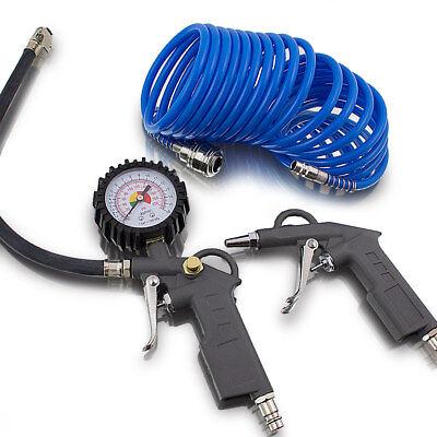 Bituxx 3 tlg. Druckluft Set für Kompressor Schlauch Reifendruck Ausblaspistole (Luft Kompressor Zubehör)