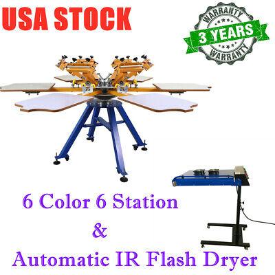 6 Color 6 Station Screen Printing Machine 20 X 24 Automatic Ir Flash Dryer