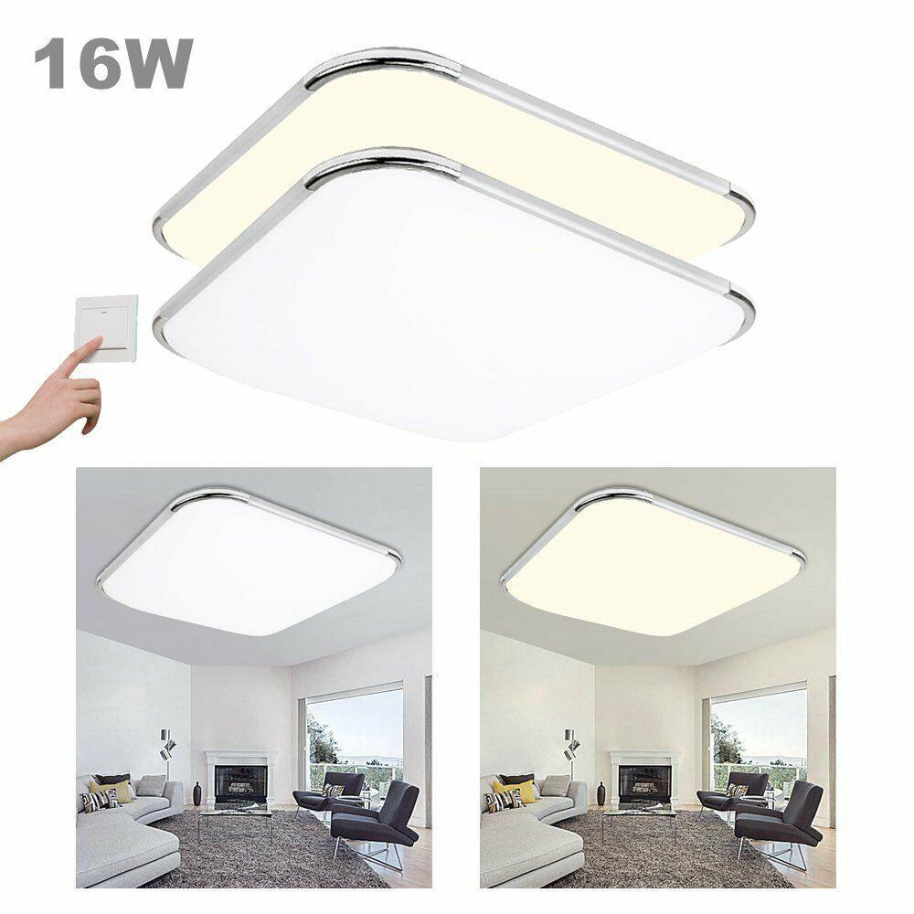 12-96W LED Deckenleuchte Wohnzimmer Deckenlampe Dimmbar Badleuchte Flur Küche 16W 30*30cm