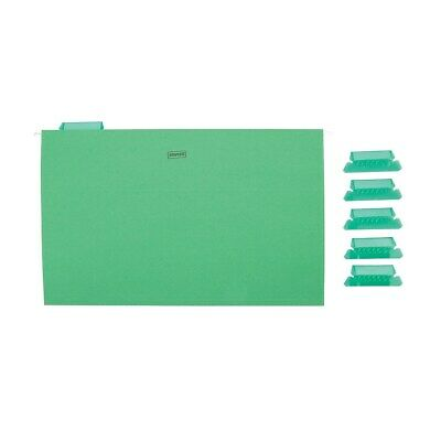 Staples Hanging File Folders 5-Tab Legal Size Green 25/Box (163972) ](Legal Size File Folders)