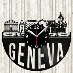 Geneva Skyline Vinyl Record Wall Clock Decor Handmade 7088