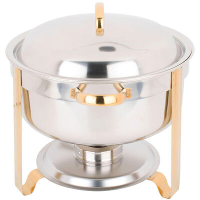 Deluxe 8 Qt Gold Accent Stainless Steel Round Soup Chafer Chafing Dish Set Full