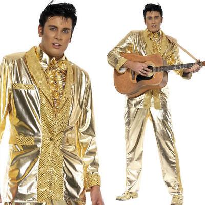 Adult Mens Elvis Presley Costume Gold Tuxedo Suit - Elvis Outfit