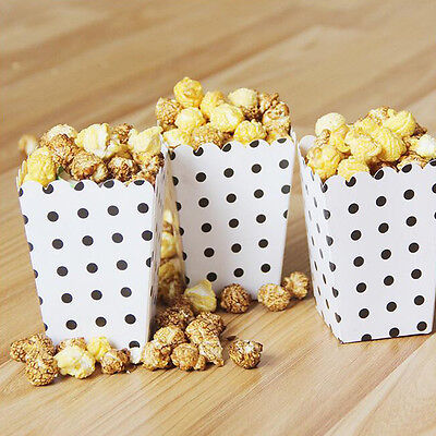 Mini Popcorn Bags (12pcs Mini Polka Dots Paper Popcorn Boxes Candy Cookie Package Bags Party)