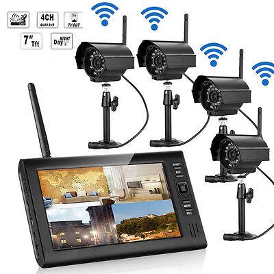 New Wireless 7  Tft Lcd 2 4G Quad 4Ch Hd Ir Cut Camera Home Cctv Security System