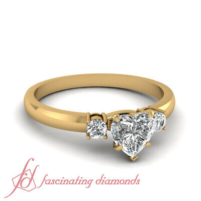 3/4 Carat Three Stone Engagement Ring With Heart Shaped And Round Diamond GIA