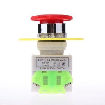 2 Pcs X Red Mushroom Emergency Stop Push Button Switch No Nc 22mm Ac 660v 10a