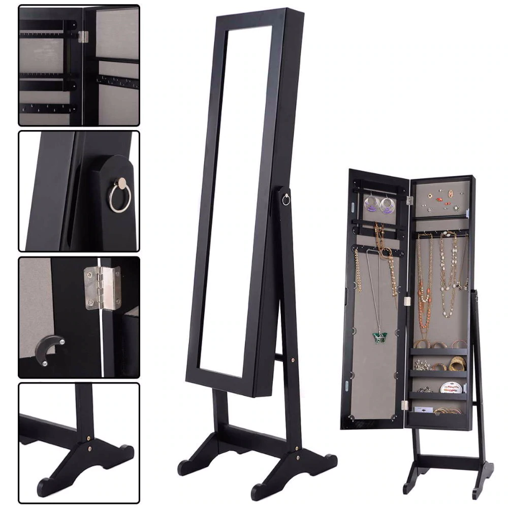 Mirrored Jewelry White Black Wood Armoire Bejeweled Stand Up