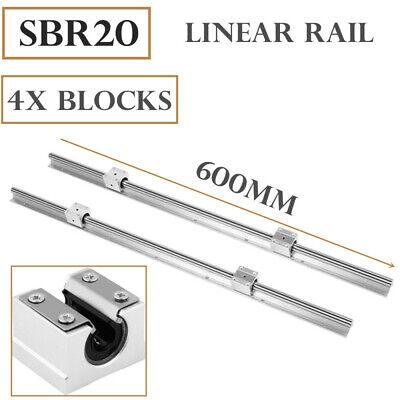 Sbr20-600mm Linear Rail 20mm Slide Guide Shaft 2x 4x Sbr20uu Blocks Cnc Set
