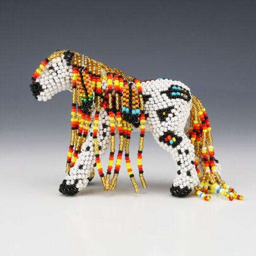 NATIVE AMERICAN ZUNI BEADED HORSE BY DENISE & FARON GCHACHU