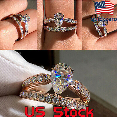 Women's Water Drop Pear-shaped Double Ring Gift Engagement Wedding Promise Party ()