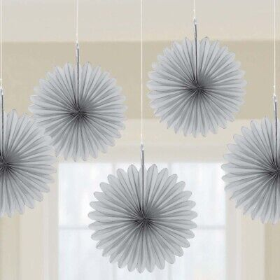 Mini Paper Fans (Hanging 6 inch Mini Fan Decorations Set (Package of 5) silver)
