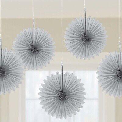 Fan Decorations (Hanging 6 inch Mini Fan Decorations Set (Package of 5) silver)