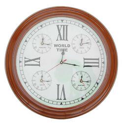 World Time Zone Clock London Hong Kong New York Tokyo 15x15 Wall Mounted
