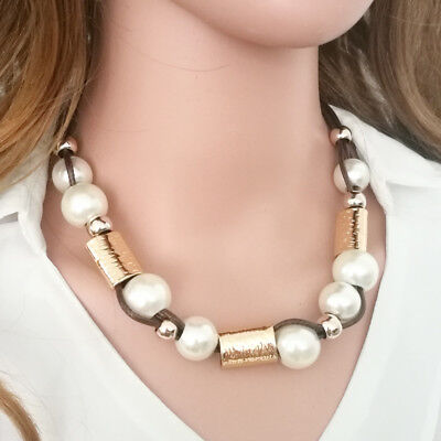 Fashion Womens Weave Big White Large Pearl Beads Necklace Chain Chunk ()