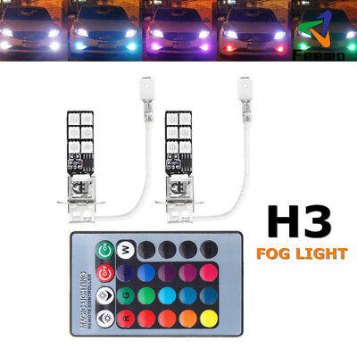 2* H3 5050 RGB 12SMD LED Auto Scheinwerfer Nebelscheinwerfer Licht Fernbedienung ()