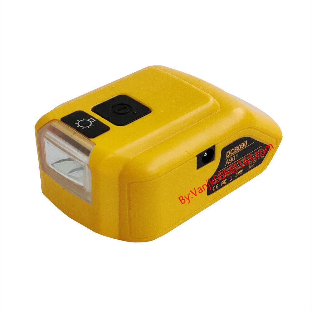 USB Power Source Adapter Work On DeWalt 20V XR Li-Ion Battery w//140lm LED 12V DC