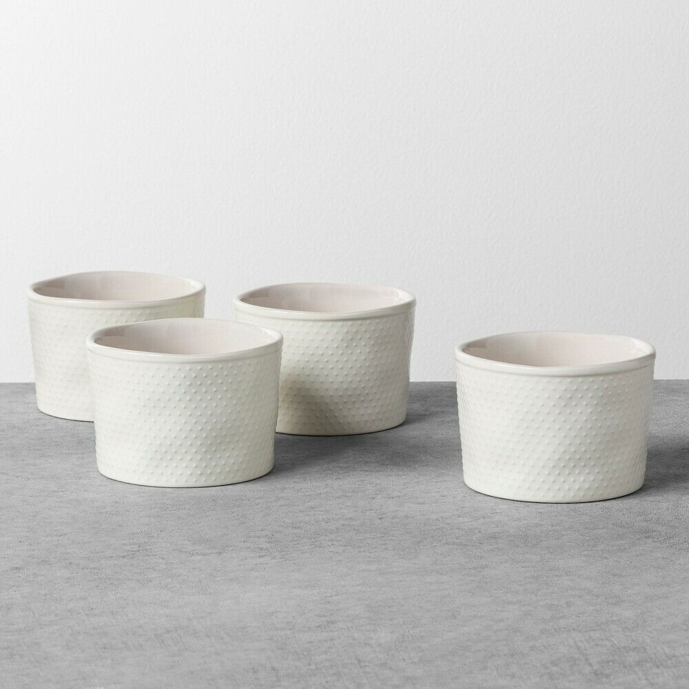4pk Stoneware Ramekin Sour Cream Textured Dot-Hearth & Hand with Magnolia, White Bakeware