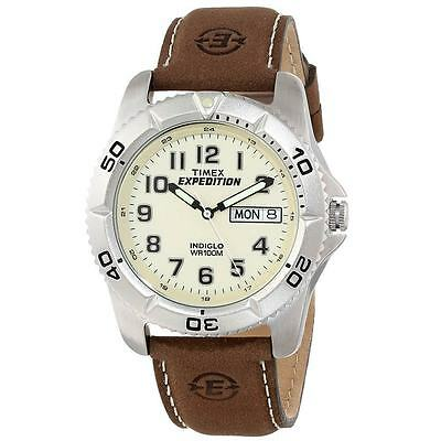Timex T46681, Men's Expedition Brown Leather Watch, Indiglo, Day/Date