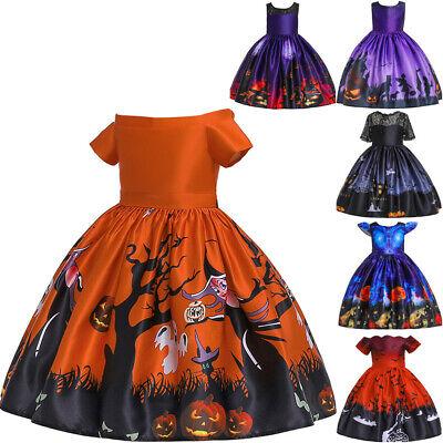 Mädchen Kleid Halloween Hexe Fledermaus Kürbis Kostüm Lila Kleid Party - Mädchen Kürbis Kostüm Hexe