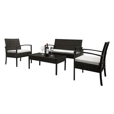 4 PCS Rattan Patio Furniture Set Garden Lawn Sofa Set /w Cushion Seat Mix Wicker 1
